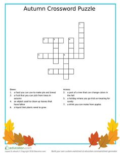 Fall-Theme Language Arts Crossword Puzzle